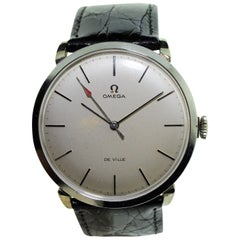 Omega Stainless Steel Oversized manual Watch, 1950s