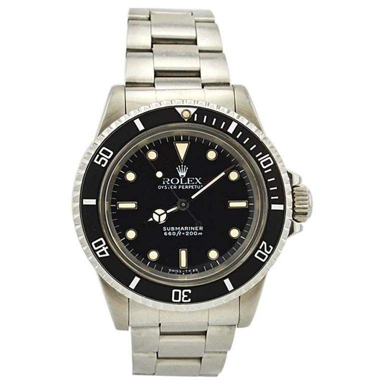 Rolex Stainless Steel Submariner Wristwatch Ref 5513, circa 1988 For Sale