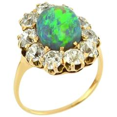 Victorian Opal Diamond Gold Cluster Ring