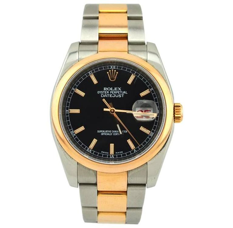 Rolex Yellow Gold Stainless Steel Everose Datejust Wristwatch Ref 116201 For Sale