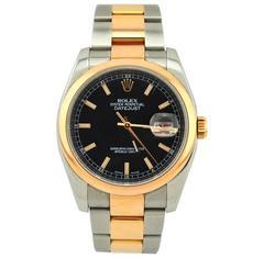 Rolex Yellow Gold Stainless Steel Everose Datejust Wristwatch Ref 116201