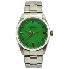 Rolex Stainless Steel Custom Green Dial Air-King Automatic Wristwatch Ref 5500