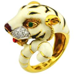 Emerald Diamond Enamel Gold Tiger Ring