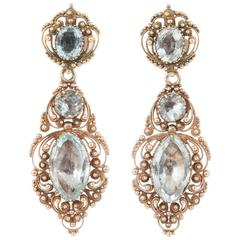 Regency Aquamarine Gold Drop Earrings