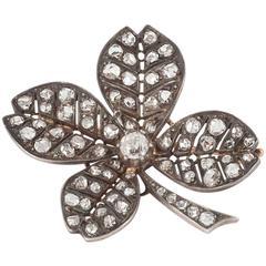 Victorian Lucky Shamrock Diamond Brooch