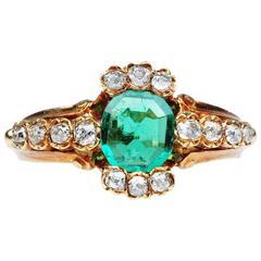 19th Century Emerald Diamond Gold Ring