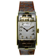Tiffany & Co. Yellow and White Gold Art Deco Handmade Manual Wristwatch