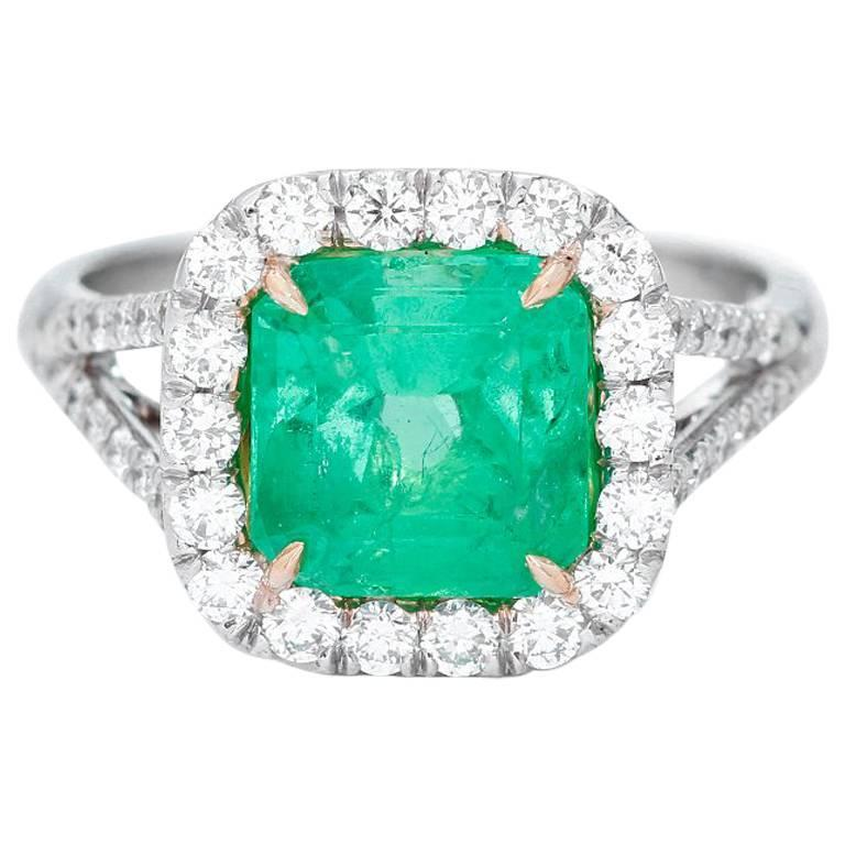emerald platinum ring for sale at 1stdibs