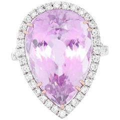 Kunzite Diamond Pear White Gold Cocktail Ring