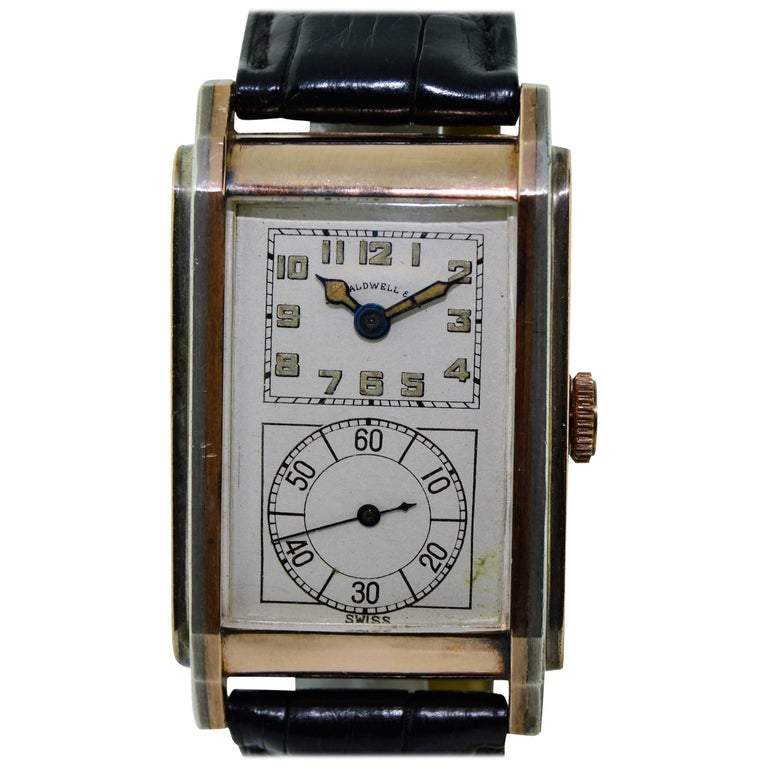 J. E. Caldwell Yellow Gold Sterling Silver Doctors Hand Constructed Watch For Sale