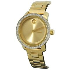 Movado Bold Ladies Gold Stainless Watch with Diamonds