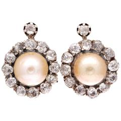French Belle Époque Natural Pearl Diamond Silver Gold Earrings