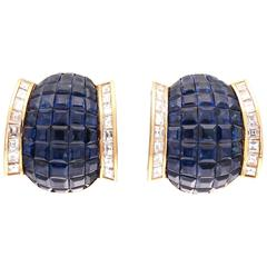 Invisible Set Sapphire Diamond Gold Earrings