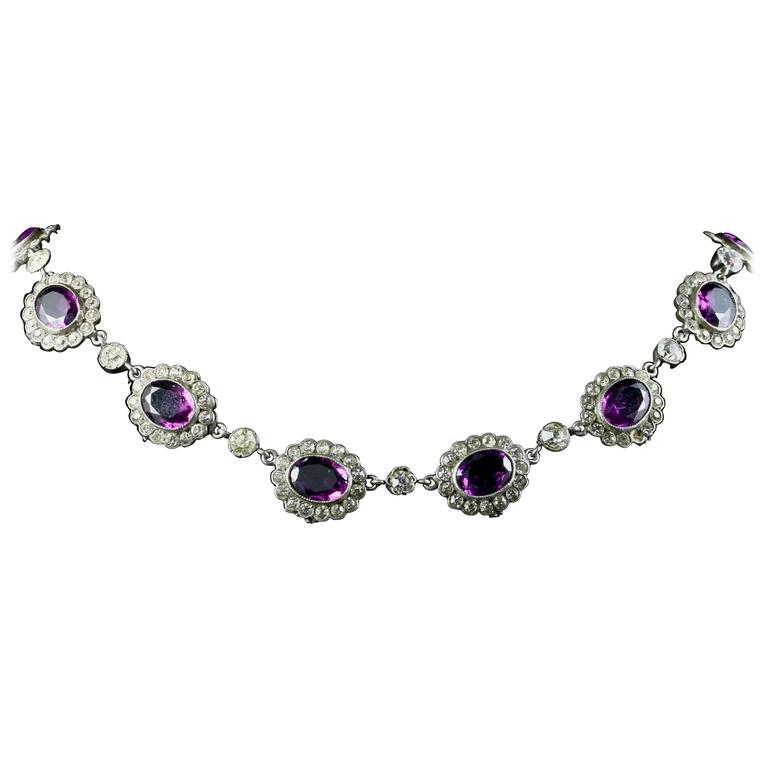 Amethyst Paste Edwardian Collar Necklace Silver Perfect for a Wedding, 1915