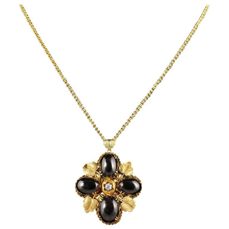 Antique Victorian Garnet Diamond Gold Pendant Necklace circa 1900