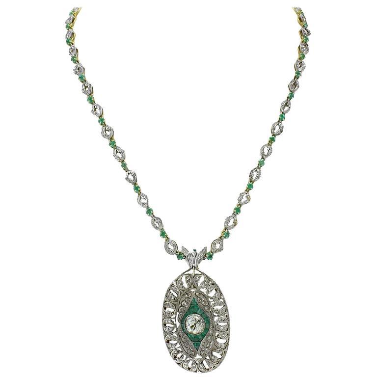 Luise Emerald Diamond Gold Brooch Necklace