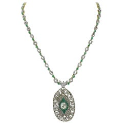 Luise Emerald Diamond Gold Brooch Necklace