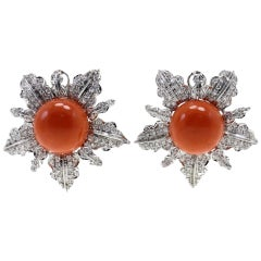White Diamonds, Red Coral Buttons, 18K White Gold Clip-on Earrings