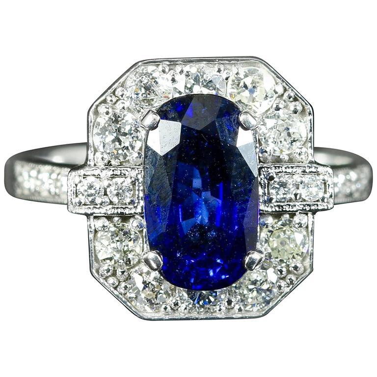 Sapphire Diamond Ring 2.50 Carat Sapphire 1.30 Carat Diamond 18 Carat Gold