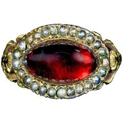 Antique Georgian Garnet Pearl Ring 18 Carat Gold