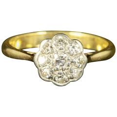 Antique Edwardian Diamond Gold Cluster Ring