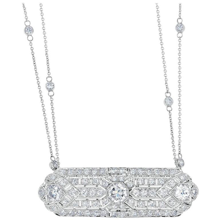 Women's 3.51 Carat Old European Cut Diamond Platinum Pendant For Sale