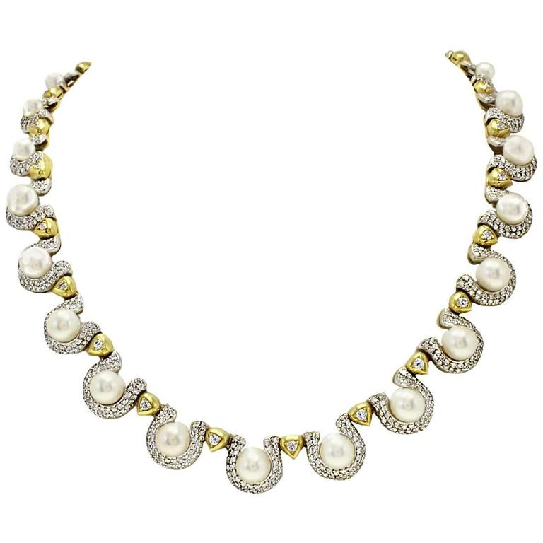 Pearl Diamond Gold Necklace