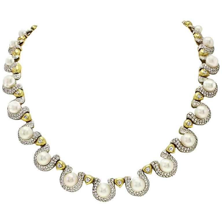 Pearl Diamond Gold Necklace For Sale