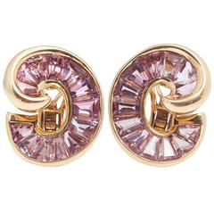 Verdura Pink Tourmaline Gold Ear Clips