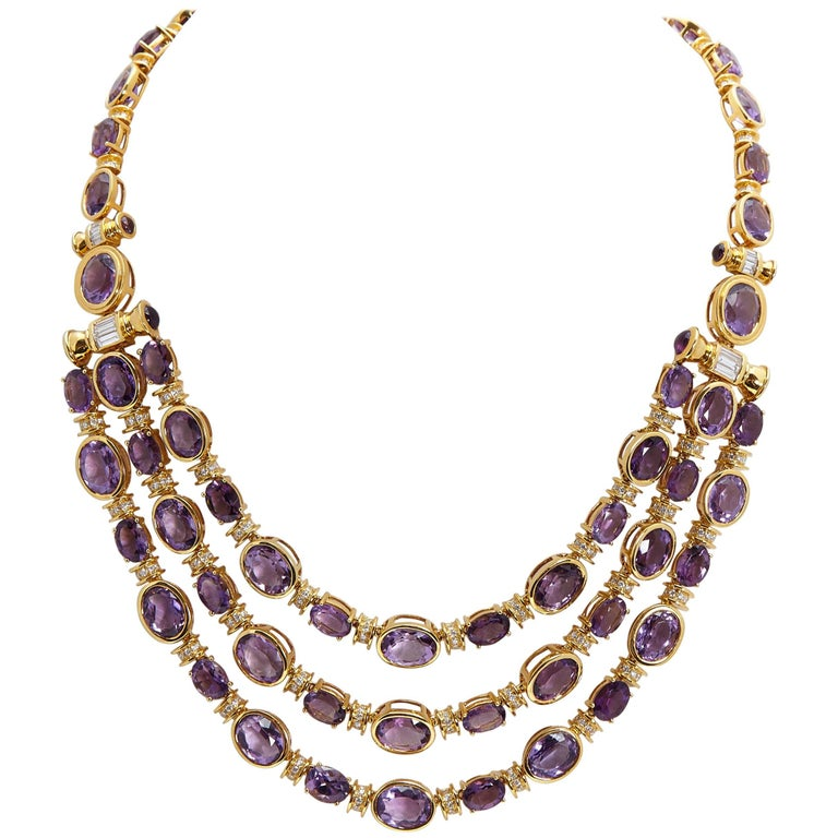 Amethyst and Diamond Gold Necklace