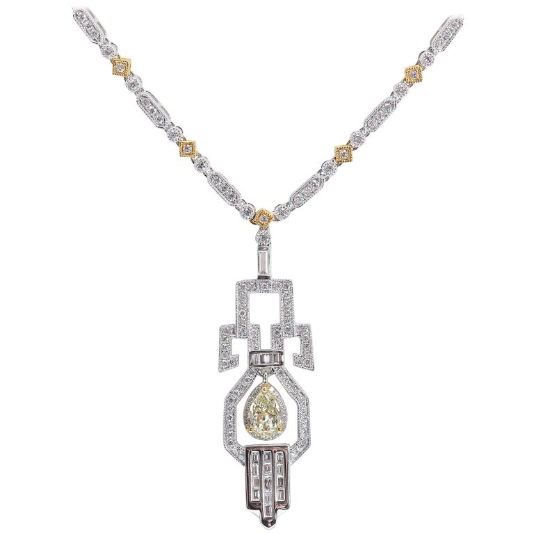 Yellow Pear Shaped Diamond Gold Necklace