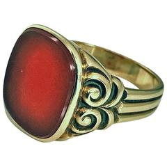 Antique Gold Carnelian Ring, circa 1890