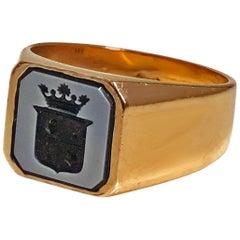 Gentleman's Antique Gold Sardonyx Ring C. 1890