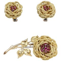 French Ruby Gold Flower Brooch Earring Suite