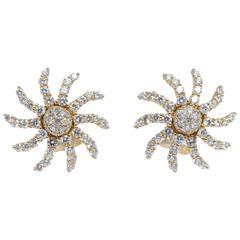 Diamond and Gold Starburst Earrings