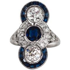 1920s Art Deco GIA AGL Certified Sapphire Diamond Platinum Engagement  Ring