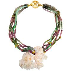 Multi Strand Tourmaline Jade and Carved Coral Runway Pendant Necklace