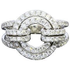 Diamond White Gold Double Circle Ring