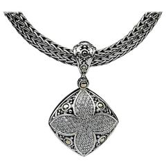 John Hardy Silver and Gold Pave Diamond Jaisalmer Dot Pendant and Chain
