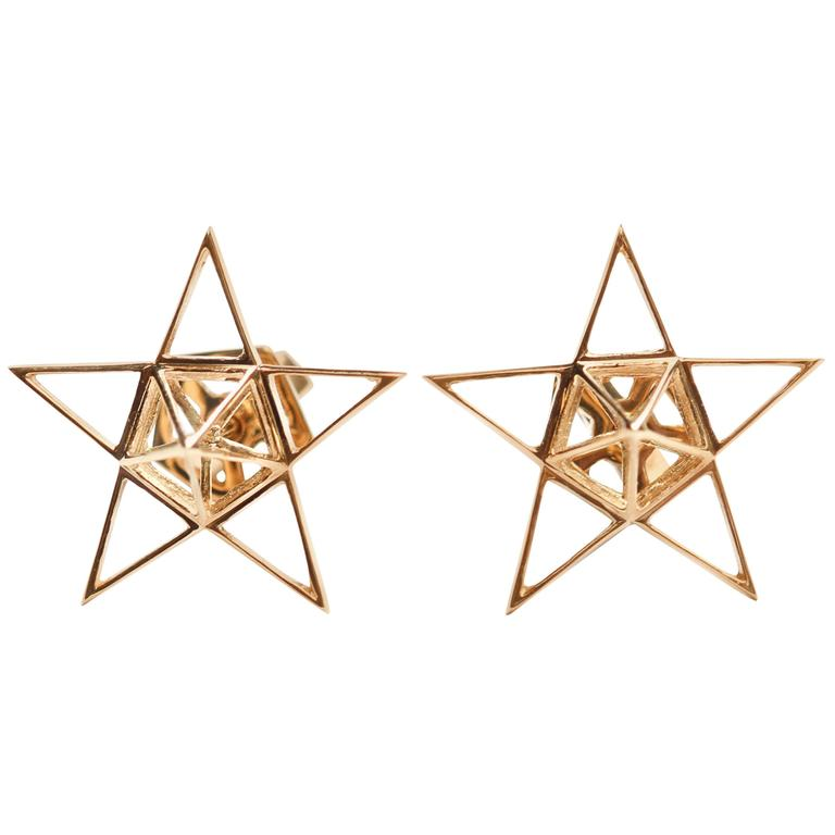 Gold Open Frame Star Earrings For Sale