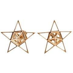 18K Gold Open Frame Star Earrings