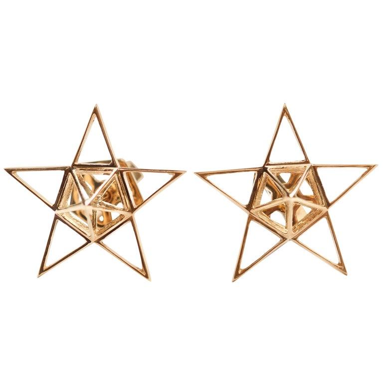 Gold Open Frame Star Earrings For Sale