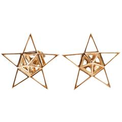 Gold Open Frame Star Earrings