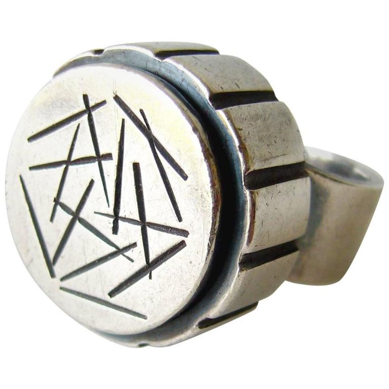 James Parker Sterling Silver Abstract Modernist Ring For Sale