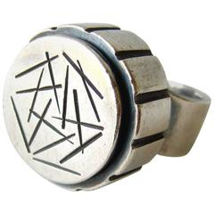 James Parker Sterling Silver Abstract Modernist Ring