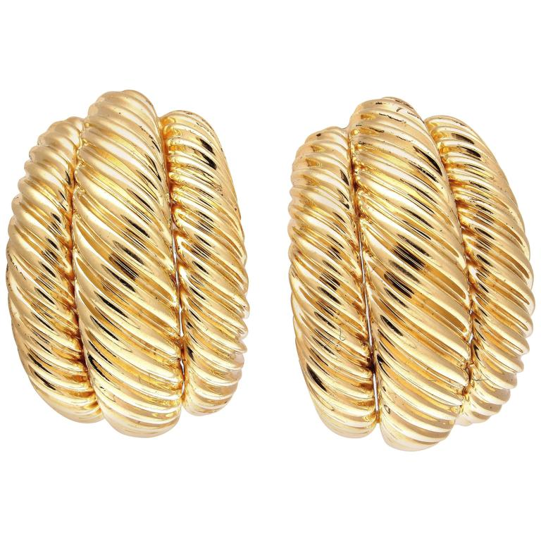 David Yurman Gold Cable Half Hoop Earrings For Sale