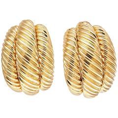 David Yurman Gold Cable Half Hoop Earrings