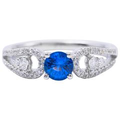 .64 Carat Ceylon Sapphire Diamond White Gold Engagement Ring