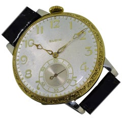 Elgin Two Color Gold High Grade Oversized Wrist Pocket Watch