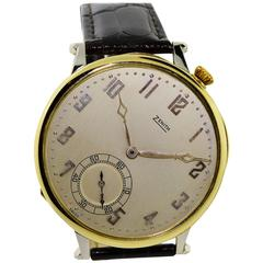 Zenith Yellow and White Gold Manual Wind Hybrid Wristwatch, Circa 1930s
